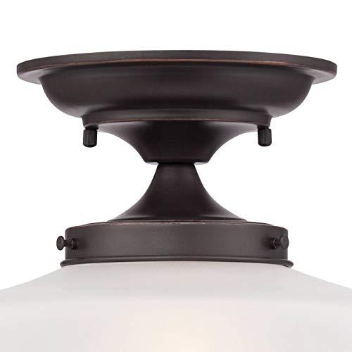 Schoolhouse Floating Ceiling Light Semi Flush Mount Fixture Bronze 12 White Glass For Bedroom Kitchen Regency Hill 0 2