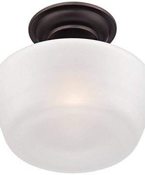 Schoolhouse Floating Ceiling Light Semi Flush Mount Fixture Bronze 12 White Glass For Bedroom Kitchen Regency Hill 0 3 300x360
