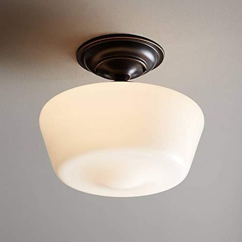 Schoolhouse Floating Ceiling Light Semi Flush Mount Fixture Bronze 12 White Glass For Bedroom Kitchen Regency Hill 0