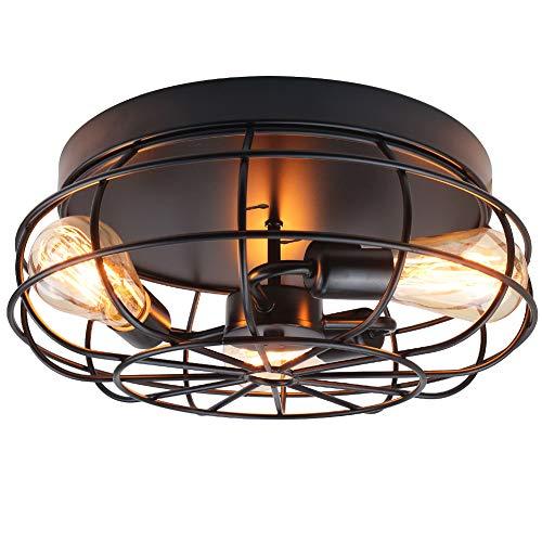 Flush Mount Ceiling Light Fixture,Industrial Rustic Metal ...