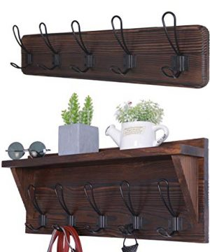 Set Of 2 Entryway Coat Rack Wall Mounted With Shelf Rustic Coat Hooks Wall Mounted Wood Hanging Coat Rack Farmhouse Hooks 0 300x360