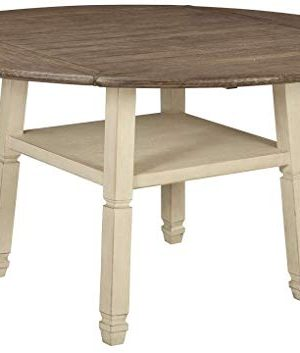 Signature Design By Ashley Bolanburg Round Drop Leaf Counter Table Casual Style Antique White 0 300x353