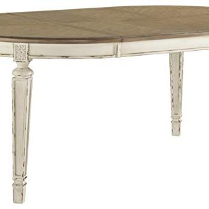Signature Design By Ashley Realyn Oval Dining Room Extention Table Casual Style Chipped White 0 300x300