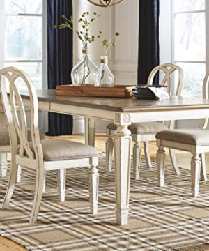 Signature Design By Ashley Realyn Rectangular Dining Room Extention Table Casual Style Chipped White 0 0 300x360