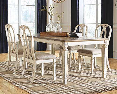Signature Design By Ashley Realyn Rectangular Dining Room Extention Table Casual Style Chipped White 0 0