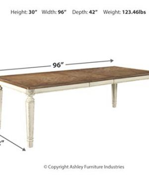 Signature Design By Ashley Realyn Rectangular Dining Room Extention Table Casual Style Chipped White 0 2 300x360