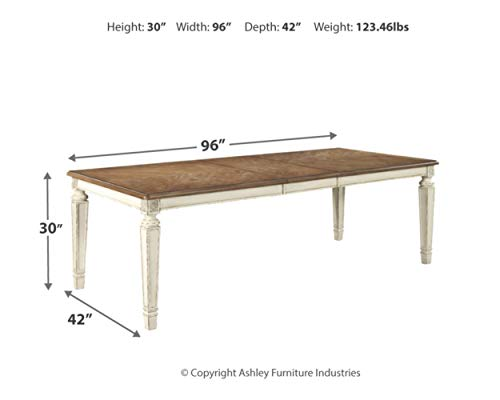 Signature Design By Ashley Realyn Rectangular Dining Room Extention Table Casual Style Chipped White 0 2
