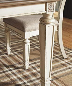 Signature Design By Ashley Realyn Rectangular Dining Room Extention Table Casual Style Chipped White 0 3 300x360