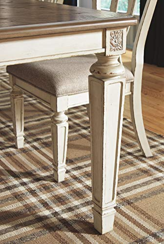 Signature Design By Ashley Realyn Rectangular Dining Room Extention Table Casual Style Chipped White 0 3