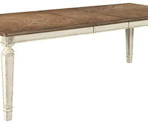 Signature Design By Ashley Realyn Rectangular Dining Room Extention Table Casual Style Chipped White 0 300x251