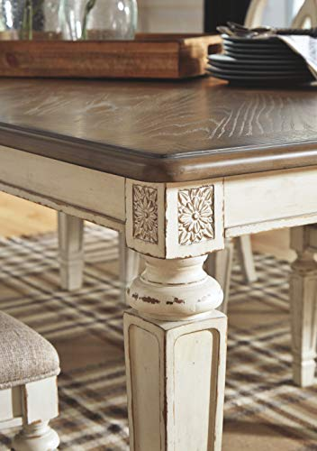 Signature Design By Ashley Realyn Rectangular Dining Room Extention Table Casual Style Chipped White 0 4