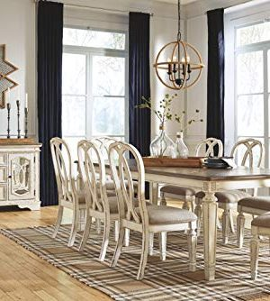 Signature Design By Ashley Realyn Rectangular Dining Room Extention Table Casual Style Chipped White 0 5 300x334