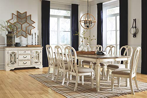 Signature Design By Ashley Realyn Rectangular Dining Room Extention Table Casual Style Chipped White 0 5