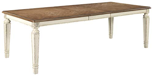 Signature Design By Ashley Realyn Rectangular Dining Room Extention Table Casual Style Chipped White 0