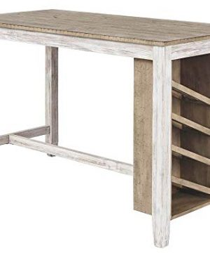 Signature Design By Ashley Skempton Rectangular Counter Table With Storage Casual Style Antique White 0 300x360