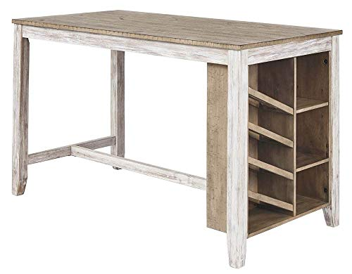 Signature Design By Ashley - Skempton Rectangular Counter Table with  Storage - Casual Style - Antique White