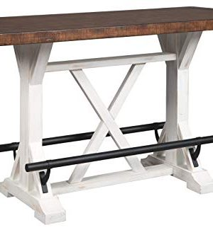 Signature Design By Ashley Valebeck Rectangular Dining Room Counter Table Casual Style WhiteBrown 0 300x325