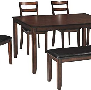 Signature Design By Ashley Coviar Dining Room Table And Chairs With Bench Set Of 6 Brown 0 300x297