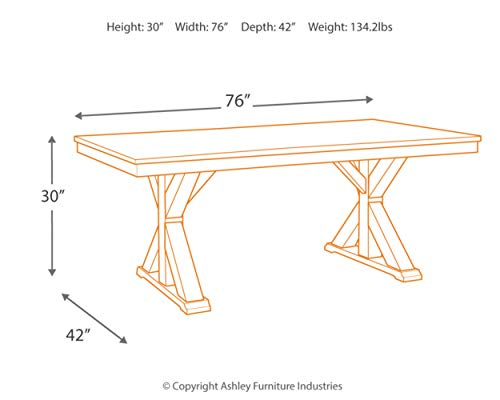 Signature Design By Ashley Dining Room Table Grindleburg WhiteLight Brown 0 2