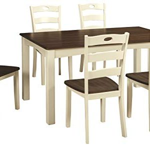 Signature Design By Ashley Woodanville Dining Room Table And Chair Set 7 Piece Set White 0 300x294
