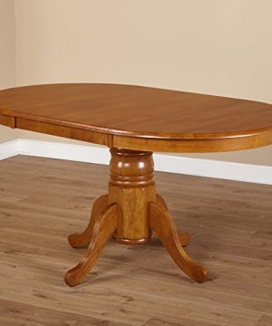Simple Living Oak Rubberwood Round Oval Farmhouse Dining Table 0 300x360