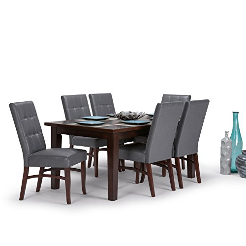 Simpli Home AXCDS7EZ G Ezra Contemporary 7 Pc Dining Set With 6 Upholstered Dining Chairs In Stone Grey Faux Leather And 66 Inch Wide Table 0 0