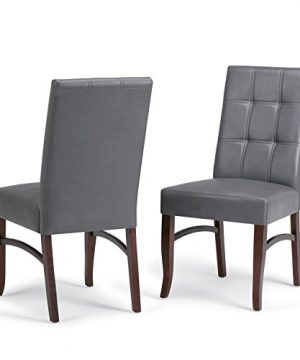 Simpli Home AXCDS7EZ G Ezra Contemporary 7 Pc Dining Set With 6 Upholstered Dining Chairs In Stone Grey Faux Leather And 66 Inch Wide Table 0 2 300x360