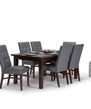 Simpli Home AXCDS7EZ G Ezra Contemporary 7 Pc Dining Set With 6 Upholstered Dining Chairs In Stone Grey Faux Leather And 66 Inch Wide Table 0 300x360