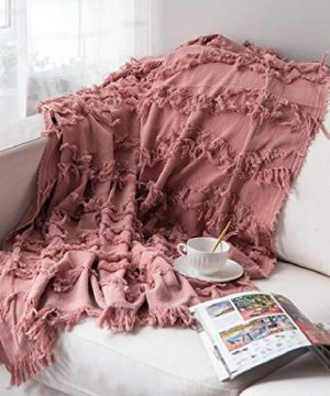 Sofila 100 Cotton Rustic Throw Blanket With Fringe Soft For Sofa Bed Couch Decorative 53 X 60 Inches New Dusty Pink 0 0 300x360