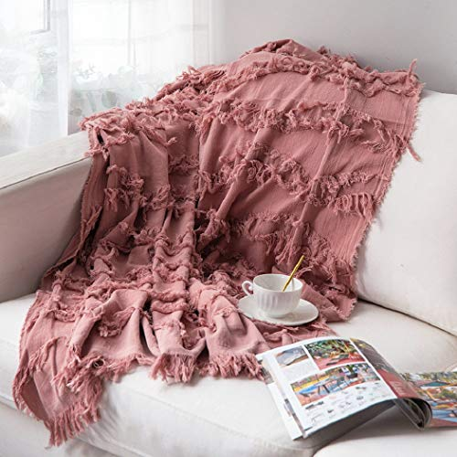 Sofila 100 Cotton Rustic Throw Blanket With Fringe Soft For Sofa Bed Couch Decorative 53 X 60 Inches New Dusty Pink 0 0