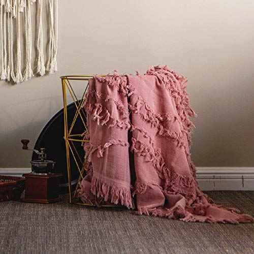 Sofila 100 Cotton Rustic Throw Blanket With Fringe Soft For Sofa Bed Couch Decorative 53 X 60 Inches New Dusty Pink 0 1