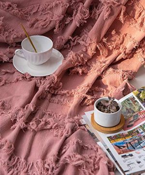 Sofila 100 Cotton Rustic Throw Blanket With Fringe Soft For Sofa Bed Couch Decorative 53 X 60 Inches New Dusty Pink 0 2 300x360