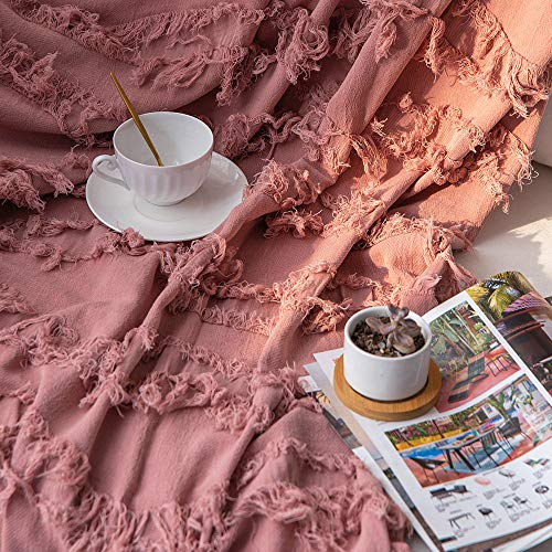 Sofila 100 Cotton Rustic Throw Blanket With Fringe Soft For Sofa Bed Couch Decorative 53 X 60 Inches New Dusty Pink 0 2