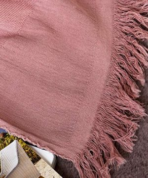 Sofila 100 Cotton Rustic Throw Blanket With Fringe Soft For Sofa Bed Couch Decorative 53 X 60 Inches New Dusty Pink 0 3 300x360