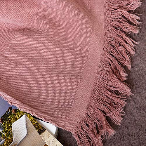 Sofila 100 Cotton Rustic Throw Blanket With Fringe Soft For Sofa Bed Couch Decorative 53 X 60 Inches New Dusty Pink 0 3