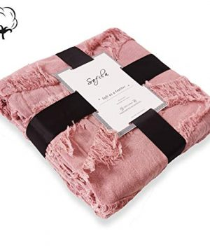 Sofila 100 Cotton Rustic Throw Blanket With Fringe Soft For Sofa Bed Couch Decorative 53 X 60 Inches New Dusty Pink 0 4 300x360