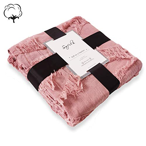 Sofila 100 Cotton Rustic Throw Blanket With Fringe Soft For Sofa Bed Couch Decorative 53 X 60 Inches New Dusty Pink 0 4