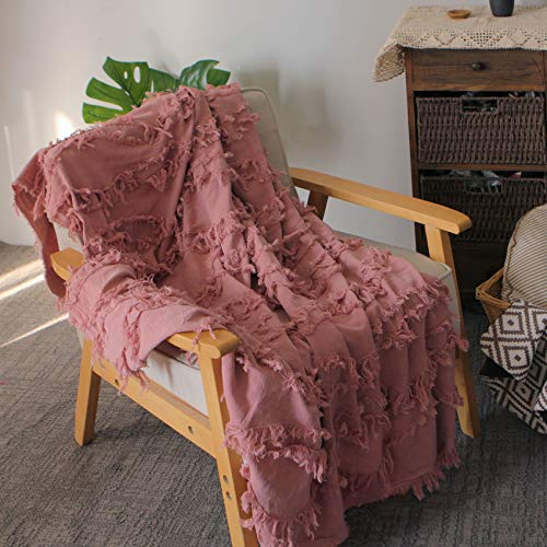 Sofila 100 Cotton Rustic Throw Blanket With Fringe Soft For Sofa Bed Couch Decorative 53 X 60 Inches New Dusty Pink 0
