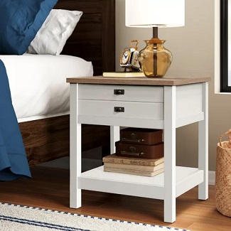 Soft White Paignt 1 Drawer Nightstand
