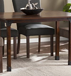 Southern Enterprises Deveron Flip Top Convertible Console Dining Table Warm Brown With Rustic Black Finish 0 300x320