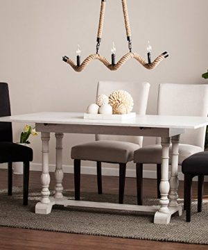 Southern Enterprises Edenderry Farmhouse Folding Trestle Console To Dining Table Rectangular White 0 300x360