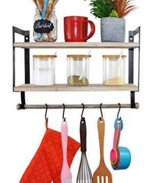 Spiretro Wall Mount 2 Tier Floating Shelves With Metal Bracket Rustic Torched Wood With Removable Towel Rod And S Hooks To Storage Organize Hang And Display For Kitchen Book Study Bathroom Grey 0 0 300x360