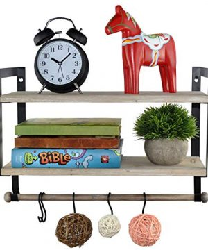 Spiretro Wall Mount 2 Tier Floating Shelves With Metal Bracket Rustic Torched Wood With Removable Towel Rod And S Hooks To Storage Organize Hang And Display For Kitchen Book Study Bathroom Grey 0 300x360