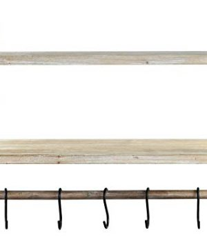 Spiretro Wall Mount 2 Tier Floating Shelves With Metal Bracket Rustic Torched Wood With Removable Towel Rod And S Hooks To Storage Organize Hang And Display For Kitchen Book Study Bathroom Grey 0 4 300x360