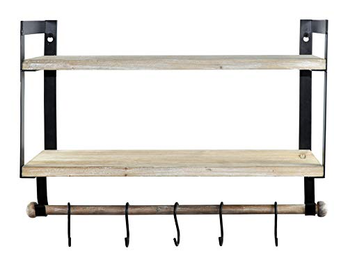 Spiretro Wall Mount 2 Tier Floating Shelves With Metal Bracket Rustic Torched Wood With Removable Towel Rod And S Hooks To Storage Organize Hang And Display For Kitchen Book Study Bathroom Grey 0 4