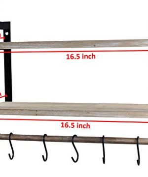 Spiretro Wall Mount 2 Tier Floating Shelves With Metal Bracket Rustic Torched Wood With Removable Towel Rod And S Hooks To Storage Organize Hang And Display For Kitchen Book Study Bathroom Grey 0 5 300x360