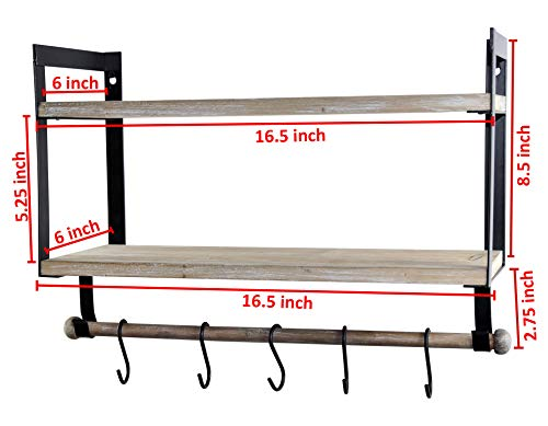 Spiretro Wall Mount 2 Tier Floating Shelves With Metal Bracket Rustic Torched Wood With Removable Towel Rod And S Hooks To Storage Organize Hang And Display For Kitchen Book Study Bathroom Grey 0 5
