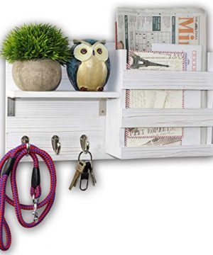 Spiretro Wall Mount Entryway Mail Envelope Organizer Key Holder Hooks Leash Hanging Coat Rack Letter Newspaper Storage Ornament Home Decorative Floating Shelf Texture Reclaimed Wood Whitewash 0 300x360