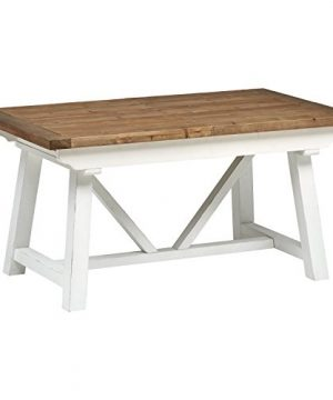 Stone Beam Bradhurst Casual Farmhouse Wood Dining Kitchen Table 31 Inch Height White 0 300x360