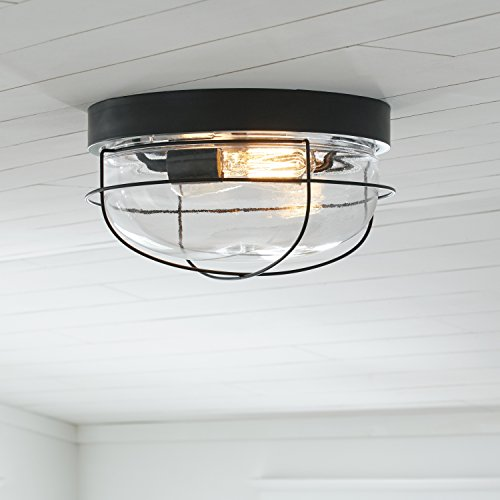 Stone Beam Industrial Cage Flush Mount Indoor Ceiling Fixture With 2 Light Bulbs 14 Inch Oil Rubbed Bronze 0 3